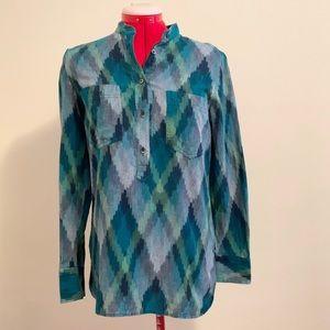 Madewell Wellspring Pixel Ikat Tunic Popover Shirt